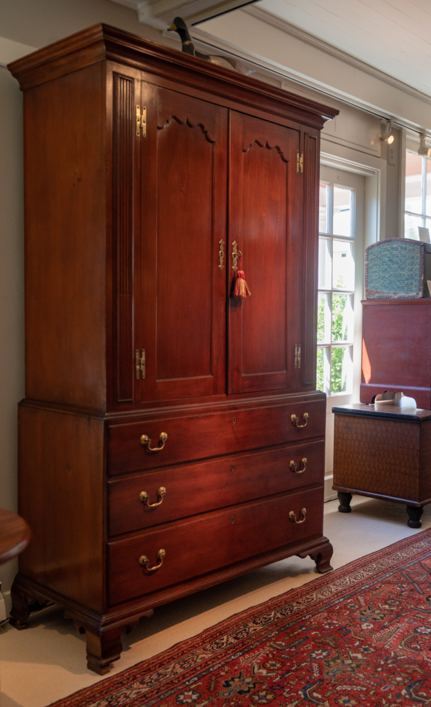 Chippendale Cherry Linen Press - side