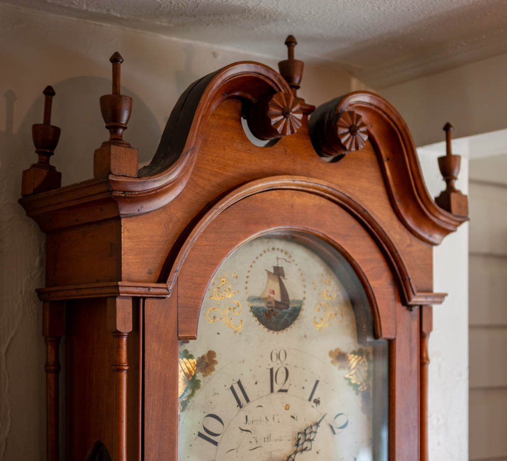 Chippendale Cherry Tall Case Clock - top