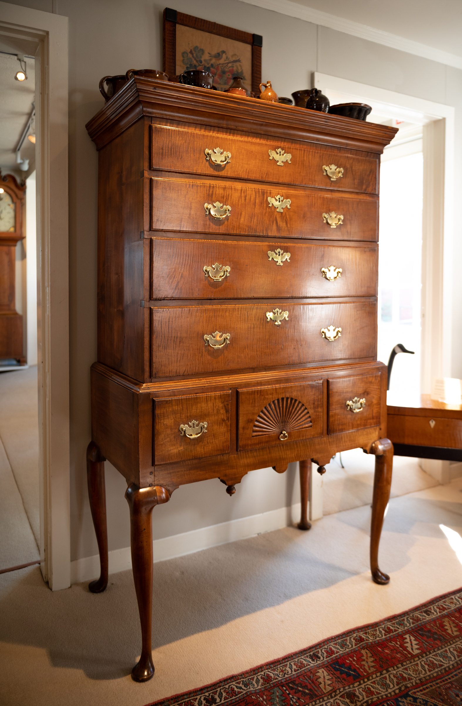 Queen Anne Tiger Maple Highboy Of Diminutive Size