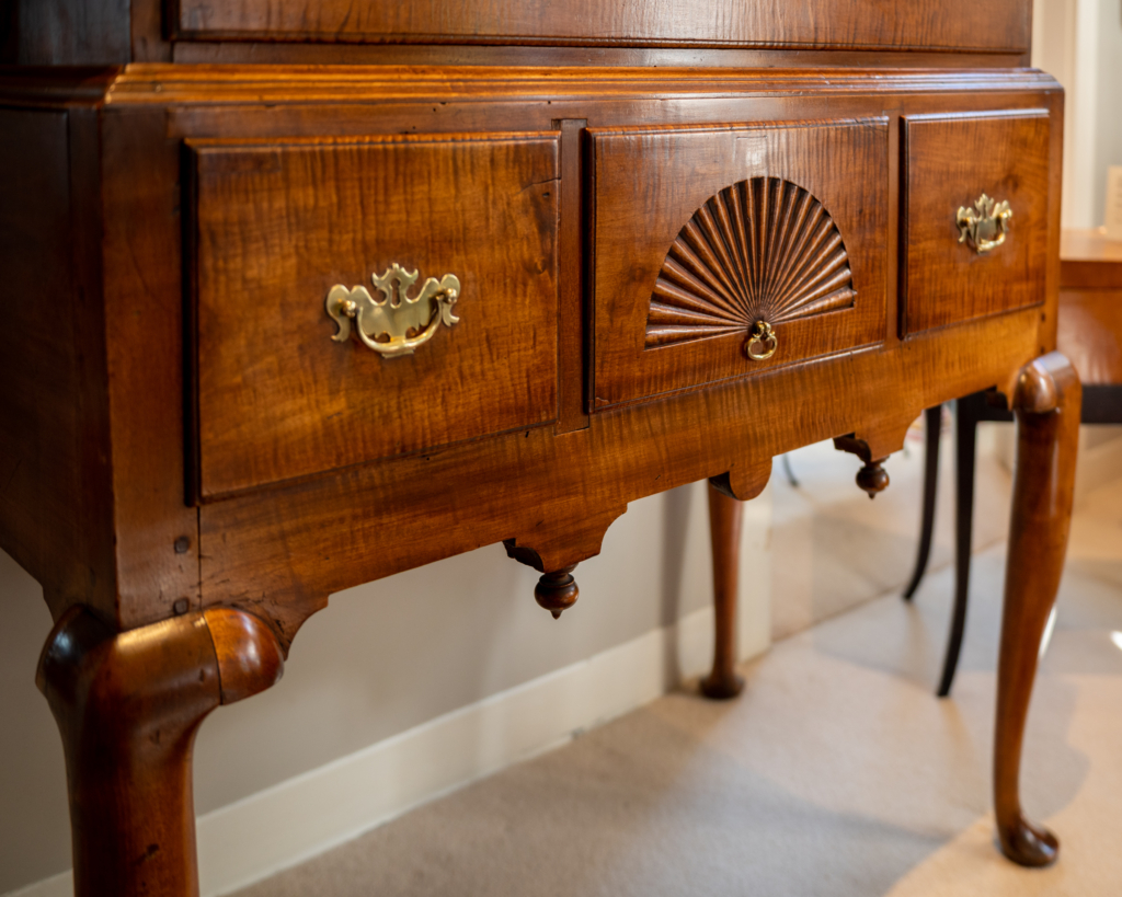 Queen Anne Tiger Maple Highboy Of Diminutive Size Bottom Detail
