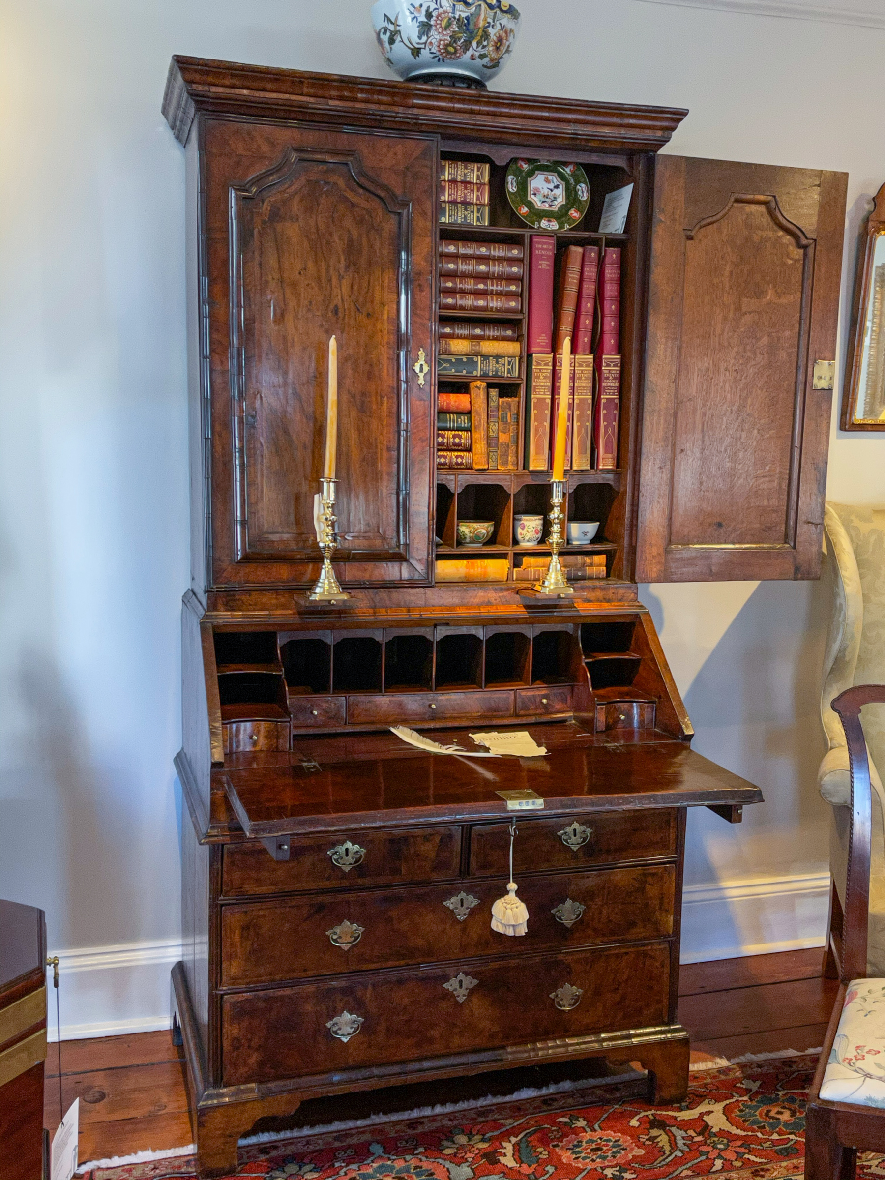 George II Burl Walnut Secretary Bookcase