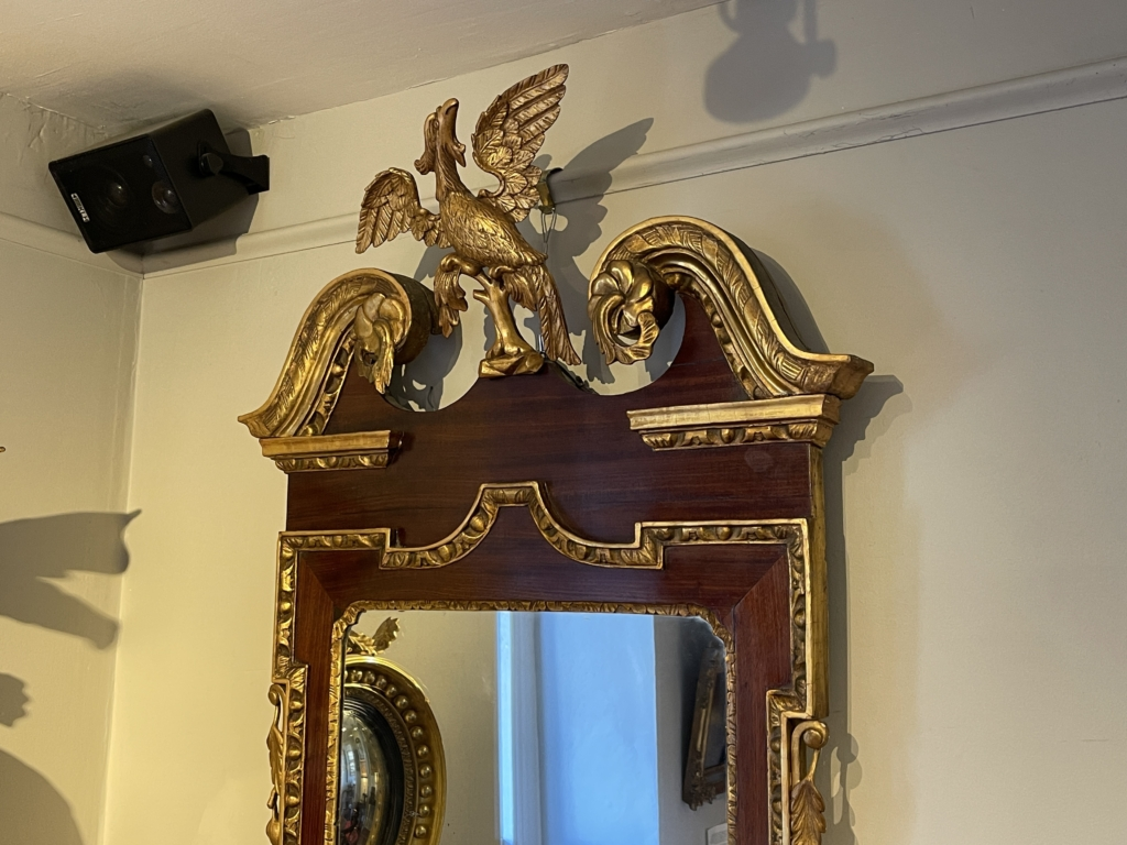 Chippendale Mahogany Gilt-Carved Constitution Mirror -detail
