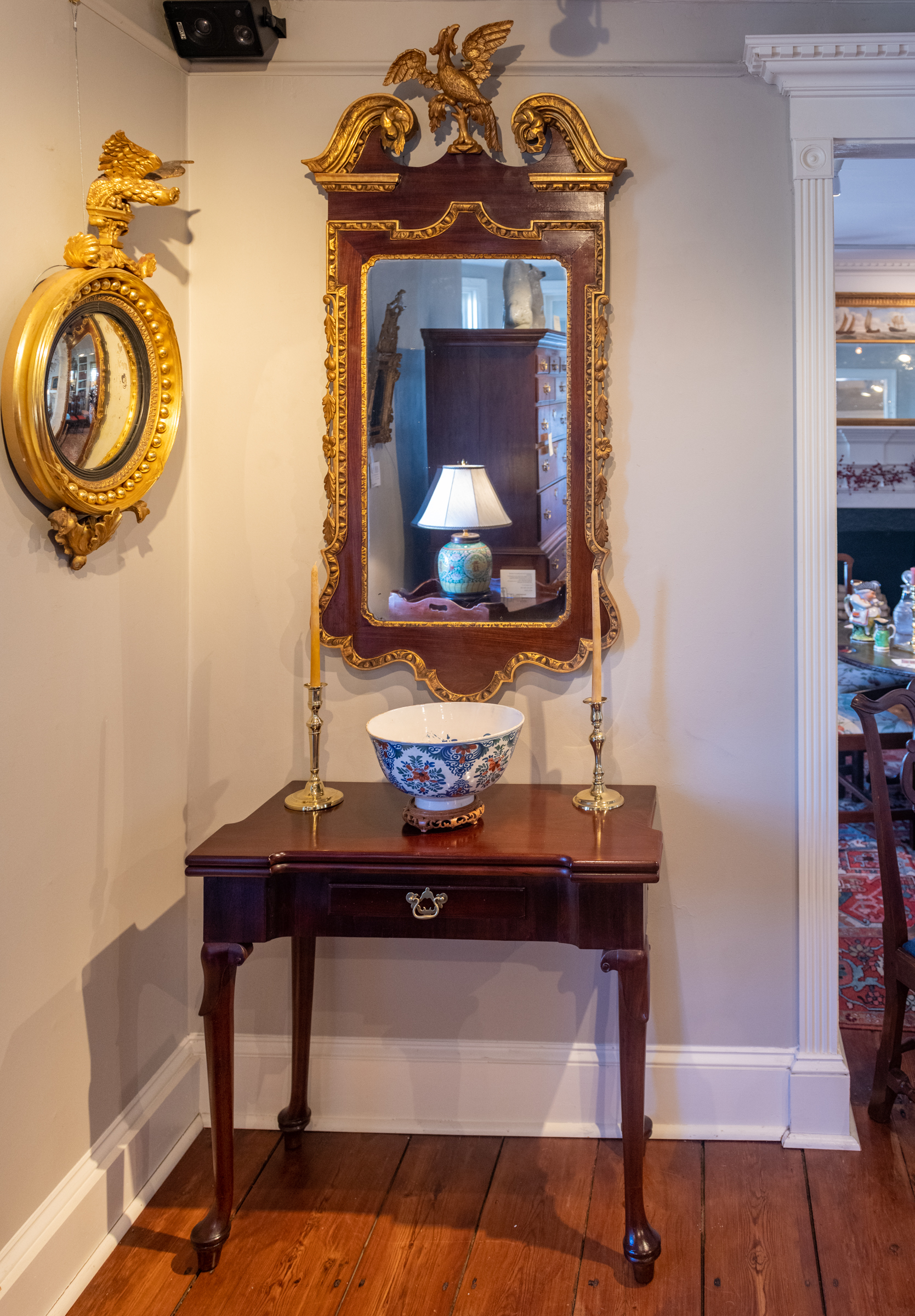 Chippendale Mahogany Gilt-Carved Constitution Mirror