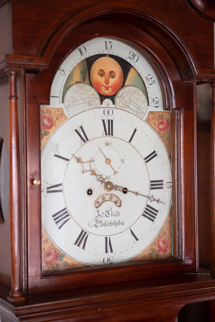 Chippendale Walnut Tall Case Clock - face
