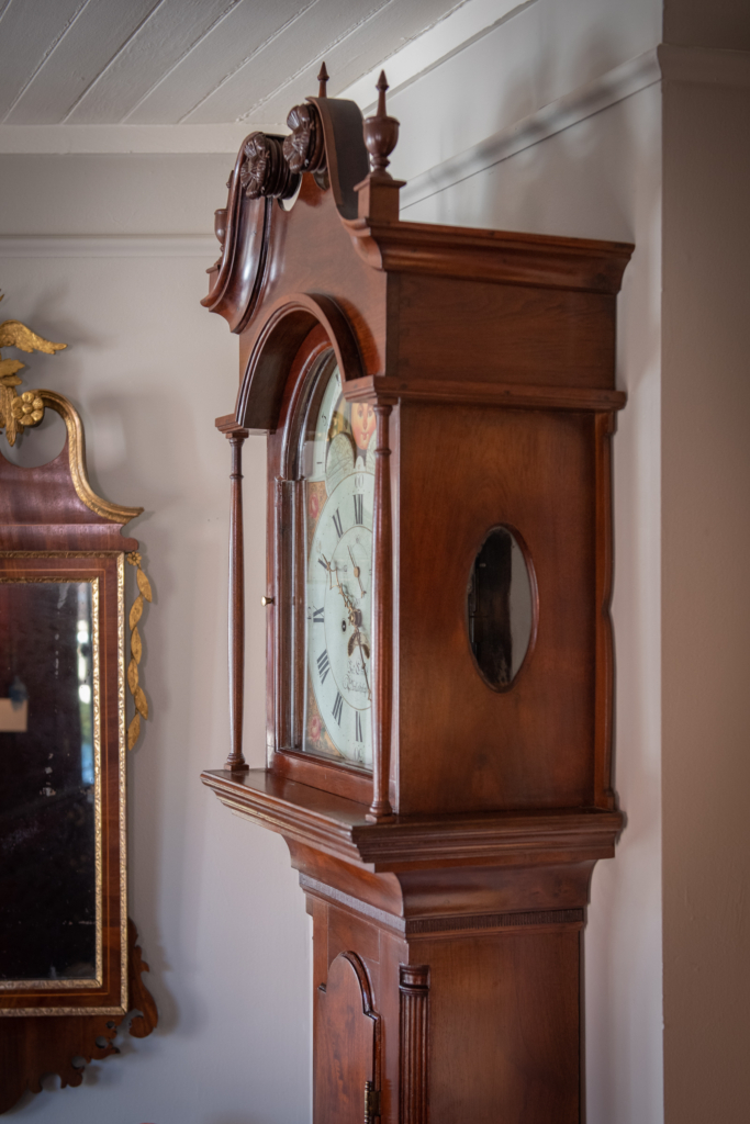 Chippendale Walnut Tall Case Clock - top