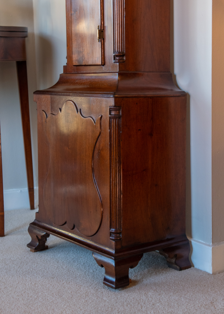 Chippendale Walnut Tall Case Clock - base