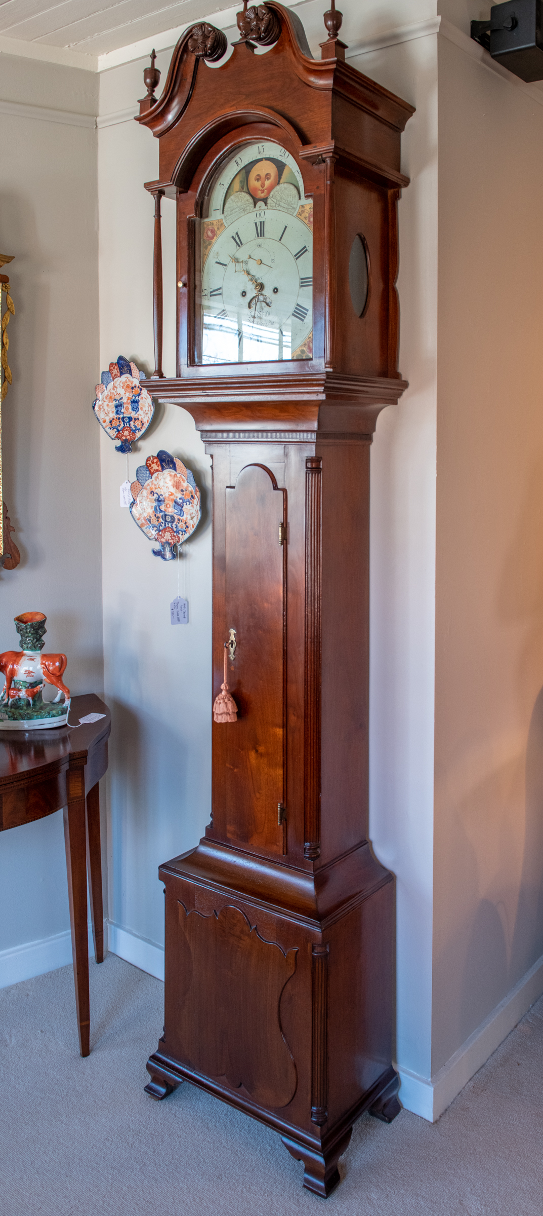 Chippendale Walnut Tall Case Clock
