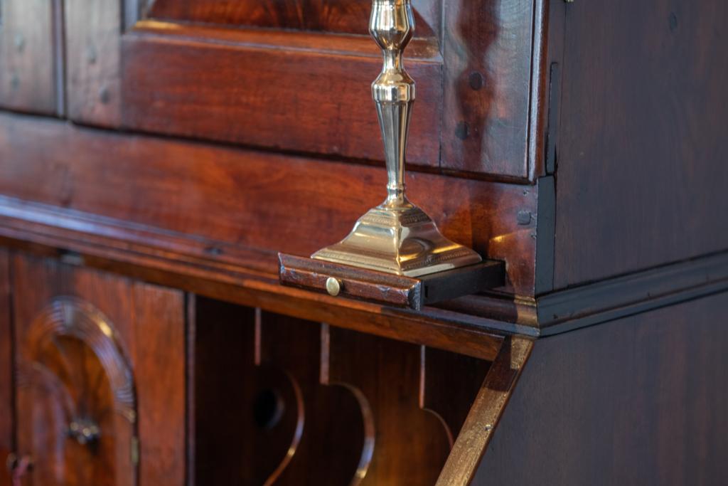 Queen Anne Walnut Secretary Bookcase - candle holder