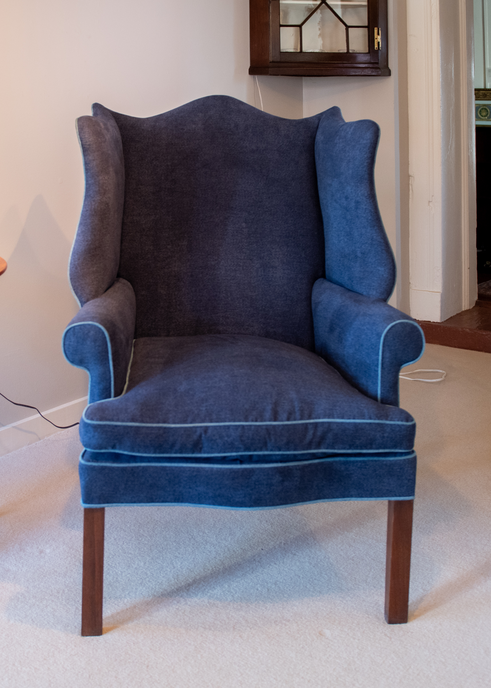 Chippendale Mahogany Upholstered Wing Chair