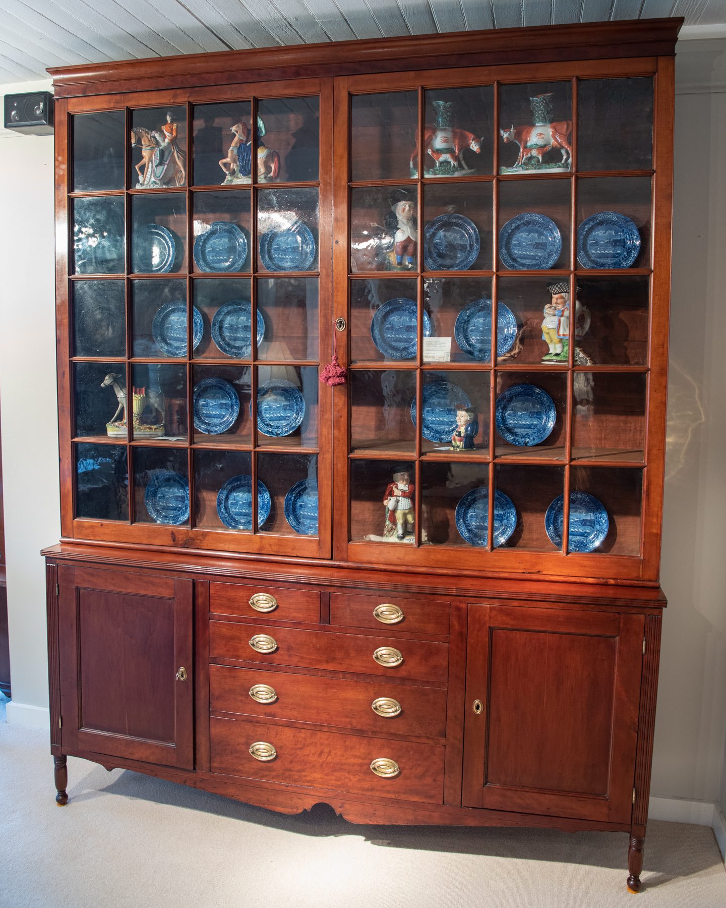 Federal Cherry Two-Part Bookcase Cabinet